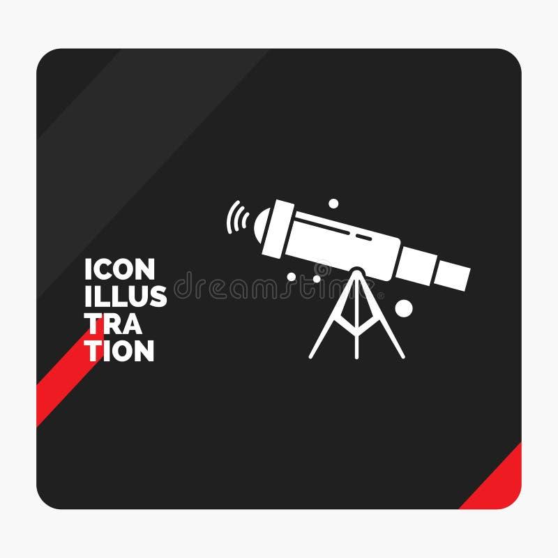 Roter und schwarzer kreativer Darstellung Hintergrund für Teleskop, Astronomie, Raum, Ansicht, Glyph-Ikone des lauten Summens stock abbildung