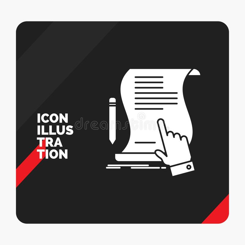 Roter und schwarzer kreativer Darstellung Hintergrund für Vertrag, Dokument, Papier, Zeichen, Vereinbarung, Anwendung Glyph-Ikone stock abbildung