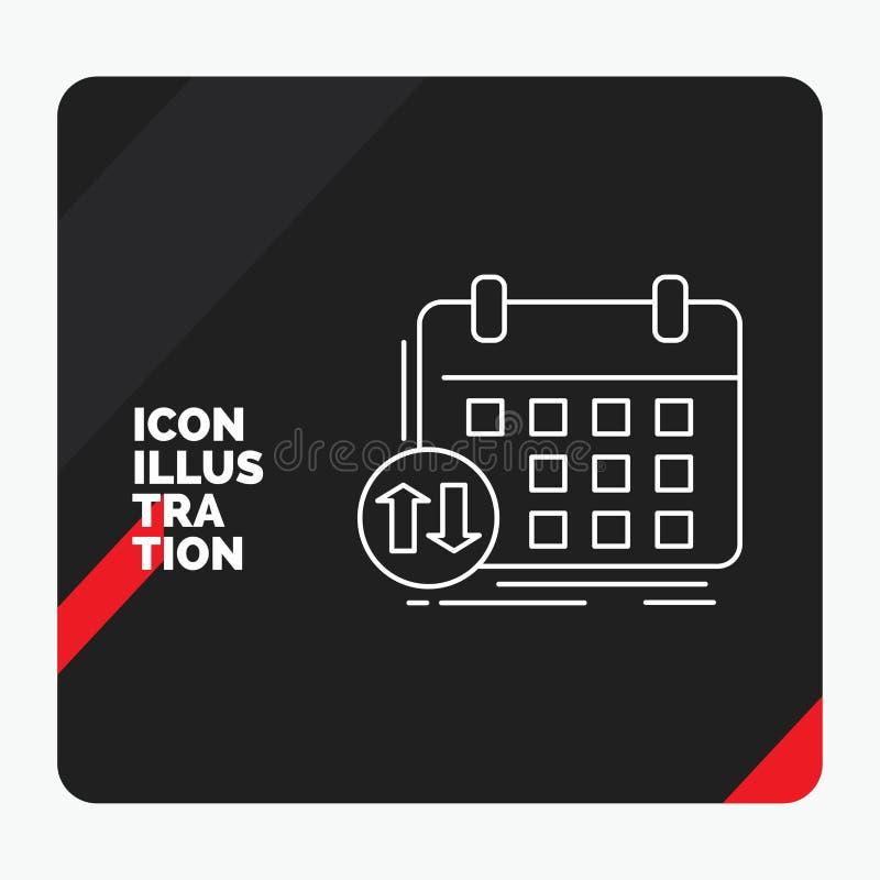 Roter und schwarzer kreativer Darstellung Hintergrund für Zeitplan, Klassen, Zeitplan, Verabredung, Ereignis Linie Ikone stock abbildung