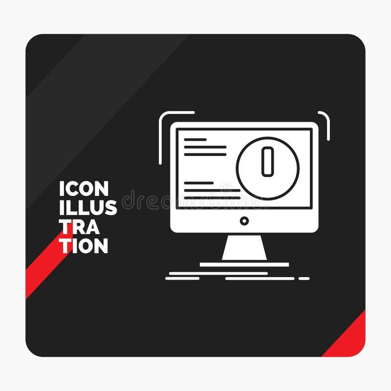 Roter und schwarzer kreativer Darstellung Hintergrund f?r Alarm, Antivirus, Angriff, Computer, Virus Glyph-Ikone stock abbildung