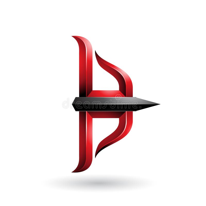 Roter und schwarzer prägeartiger Pfeil und Bogen lokalisiert auf einem weißen Hintergrund stock abbildung