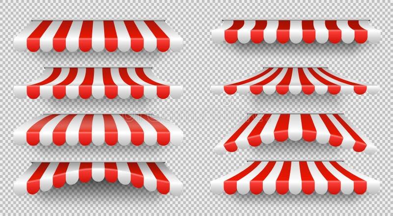 Roter und weißer Sonnenschutz Markisen im Freien für lokalisierten Vektorsatz des Cafés und des Shops Fenster lizenzfreie abbildung