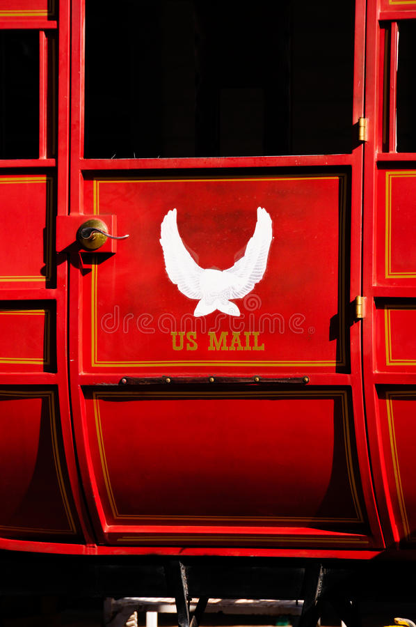 Roter US-Post Stagecoach stockfotografie