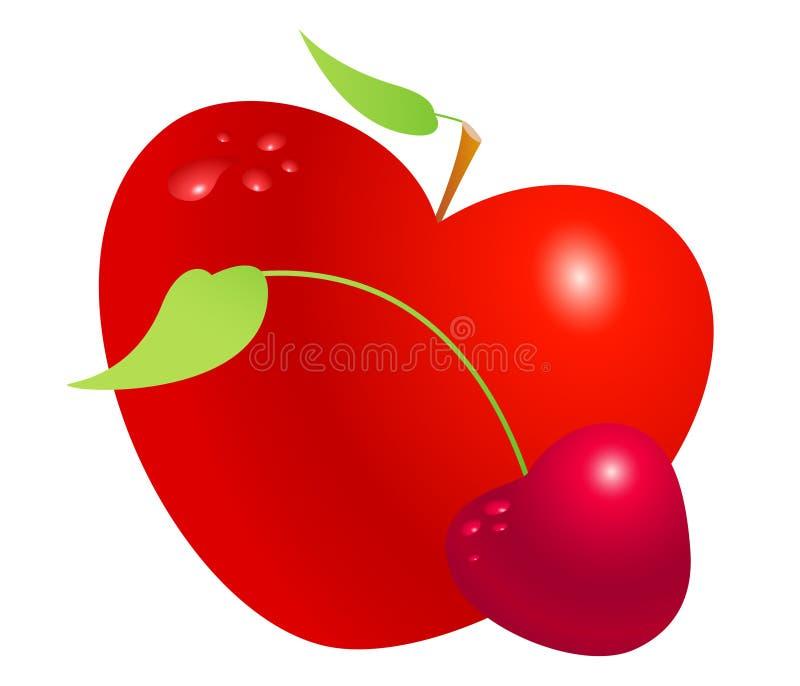 Roter Valentinsgrußherzapfel- und -kirschsatz lokalisiert auf weißem Hintergrund Symbol der Liebe, des Lebens, der Gesundheit und lizenzfreie abbildung