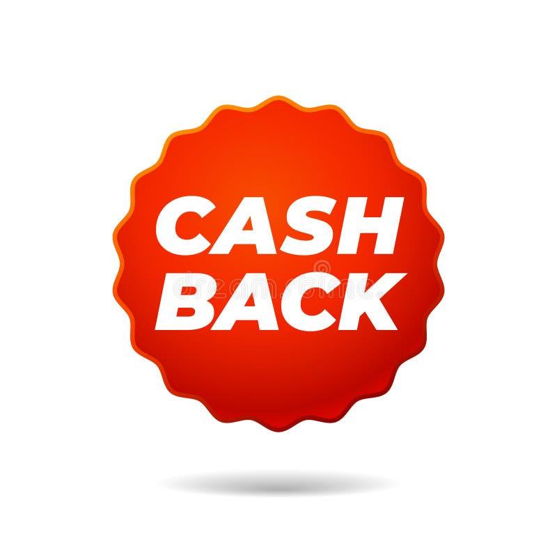 Roter Vektor-Aufkleber, Bargeld zurück lizenzfreie abbildung