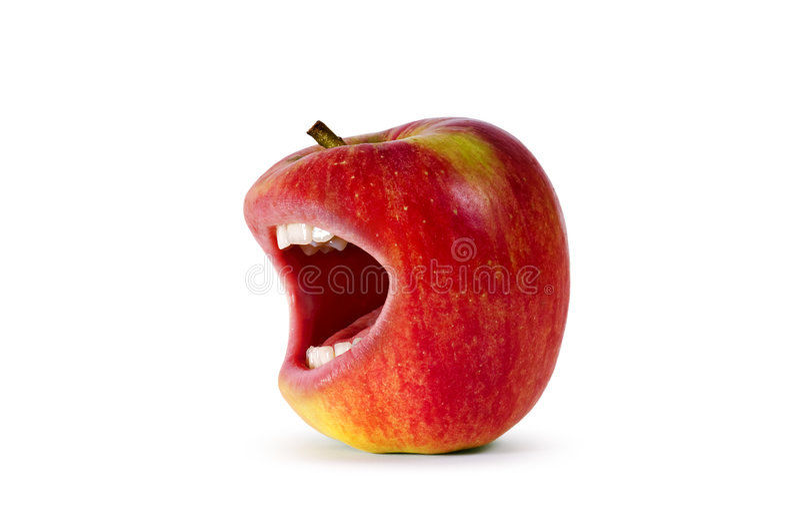 Roter verärgerter Apfel stockfotos