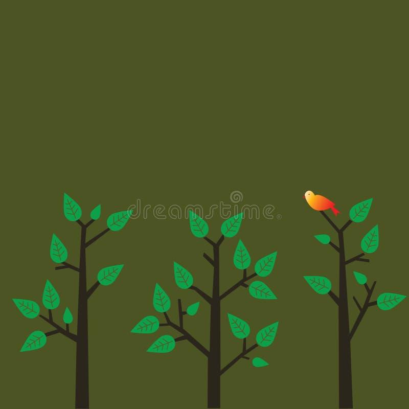 Roter Vogel auf einem Baum vektor abbildung