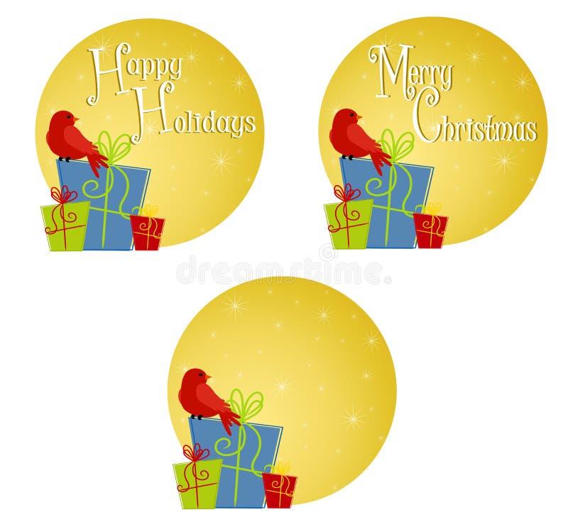 Roter Vogel, der auf Geschenken 2 sitzt lizenzfreie abbildung
