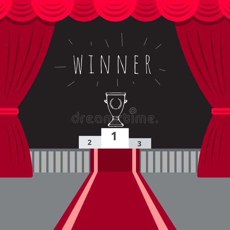 Roter Vorhang der Szene, roter Teppich, die Siegerehrung lizenzfreie abbildung
