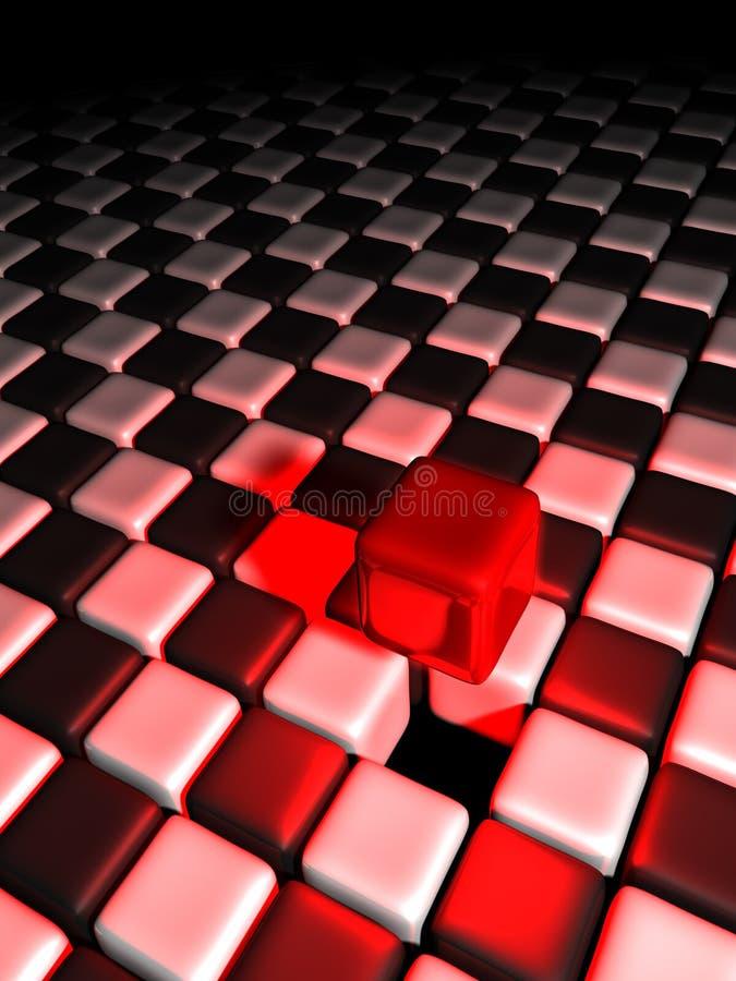 Roter Würfel alleine über vielen Schwarzweiss-Würfeln lizenzfreie abbildung