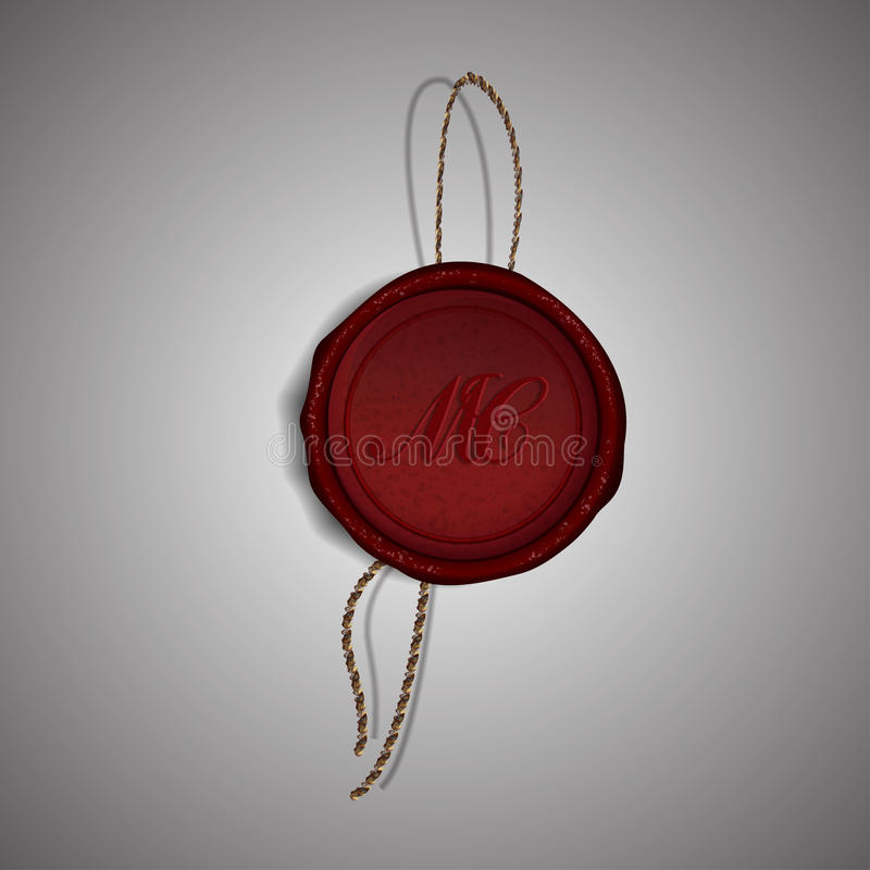 Roter Wachsstempel der frohen Weihnachten auf grauem Hintergrund, Illustration stock abbildung