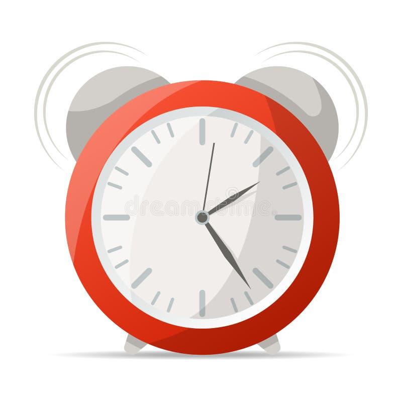 Roter Wecker mit Glockenikone lizenzfreie abbildung