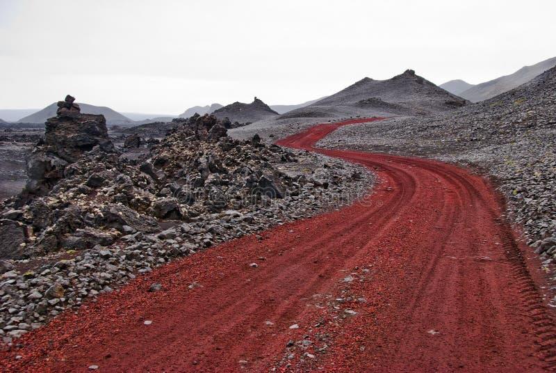 Roter Weg Island lizenzfreies stockbild