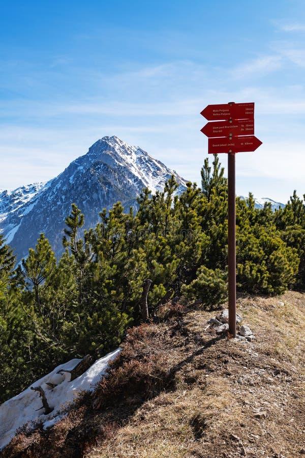 Roter Wegweiser auf die Gebirgsoberseite, die nahe gelegene Wanderwege in den Slowenischen Alpen anzeigt lizenzfreie stockfotografie