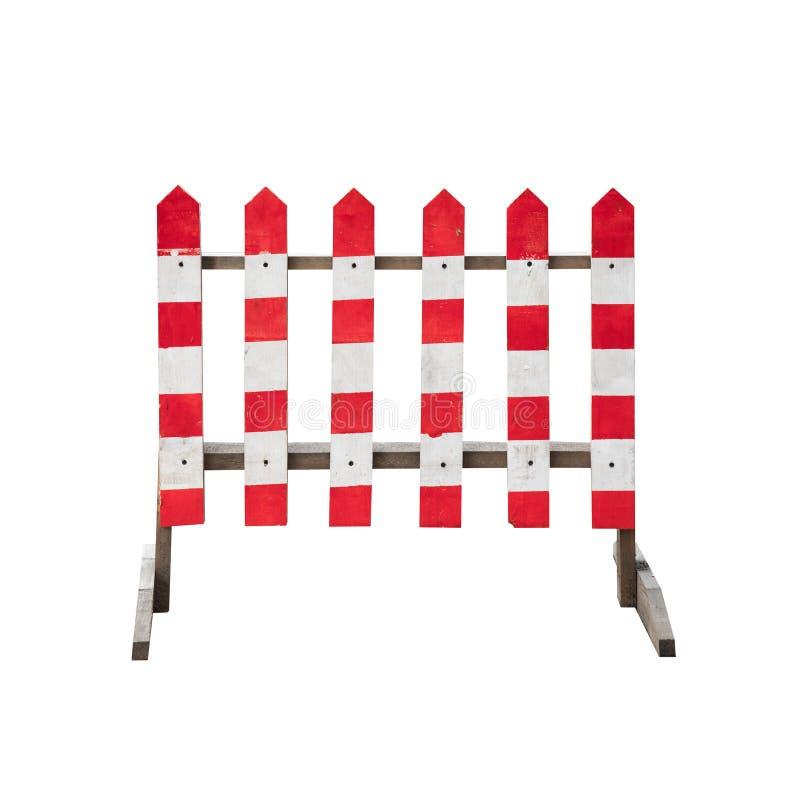 Roter weißer Bretterzaun der gestreiften Vorsicht lokalisiert lizenzfreies stockbild
