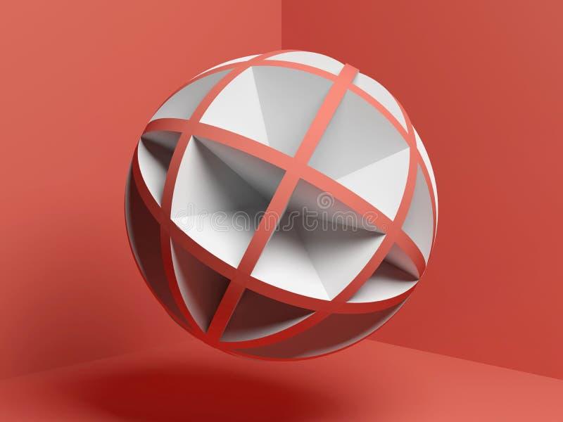 Roter weißer kugelförmiger Gegenstand 3d der Zusammenfassung stock abbildung