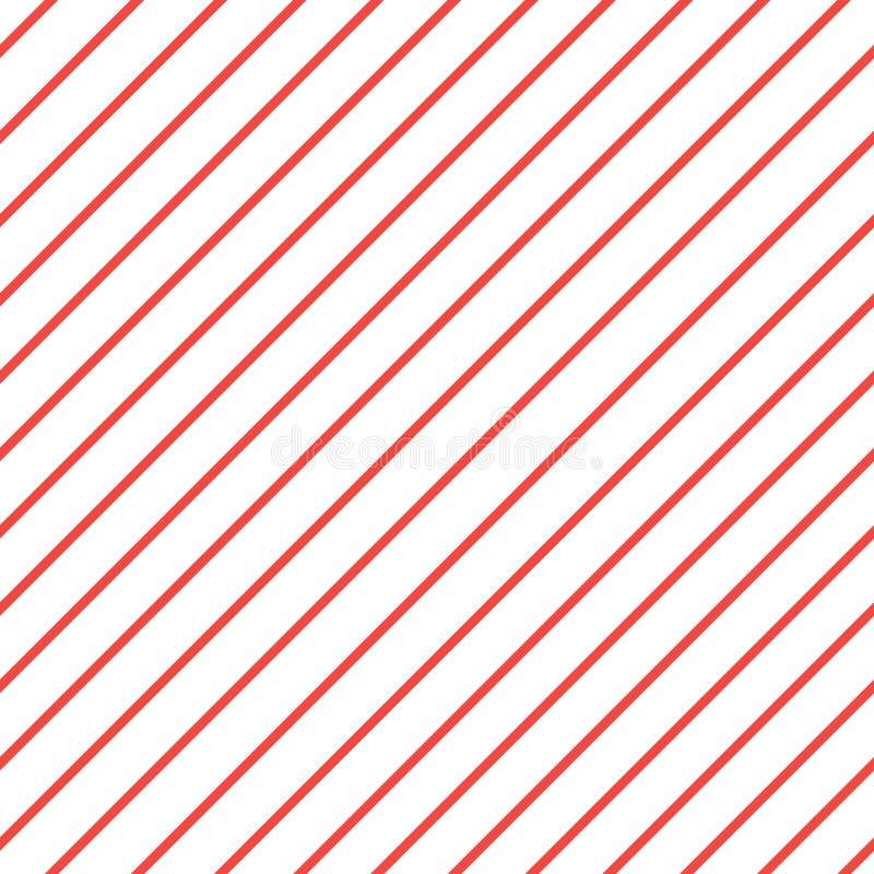 Roter weißer Schrägstreifenmusterhintergrund iagonal Linien Muster Wiederholen Sie geraden Streifenbeschaffenheitshintergrund lizenzfreie abbildung