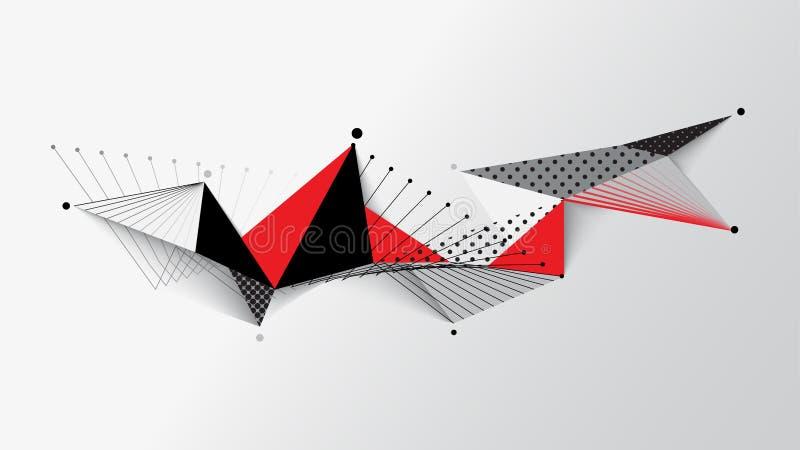 Roter weißer schwarzer geometrischer Musterzusammenfassungshintergrund vektor abbildung
