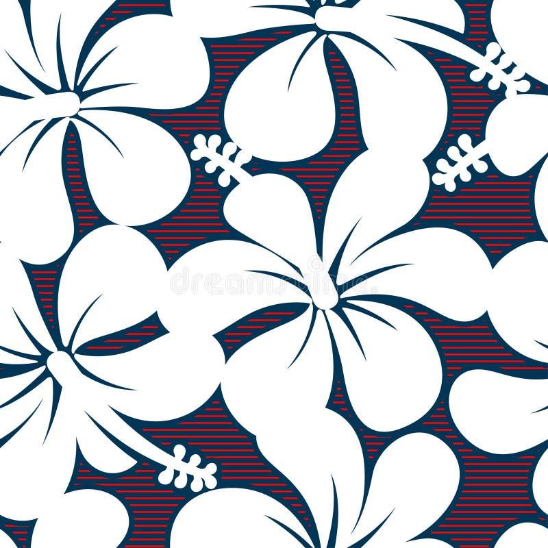 Roter weißer und blauer Hibiscus zeichnet nahtloses Muster stock abbildung