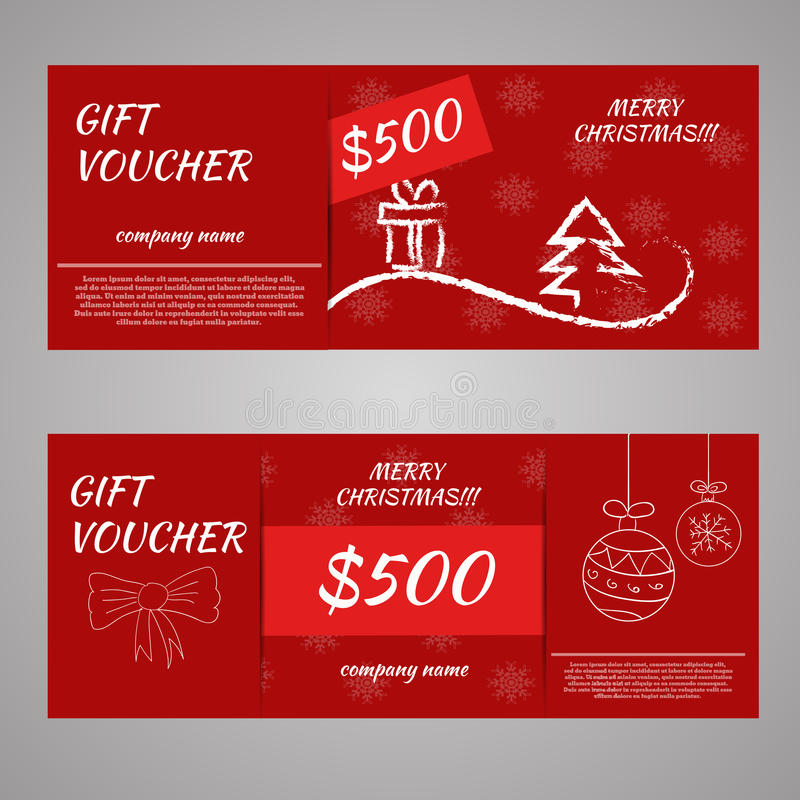 Roter Weihnachts- und Neujahrsgeschenkbeleg bescheinigen Kupon templ lizenzfreie abbildung