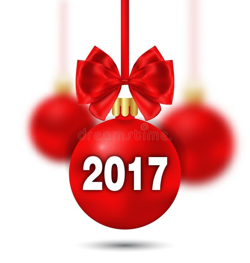 Roter Weihnachtsball mit Bogen-und Unschärfe-Bällen lizenzfreie abbildung