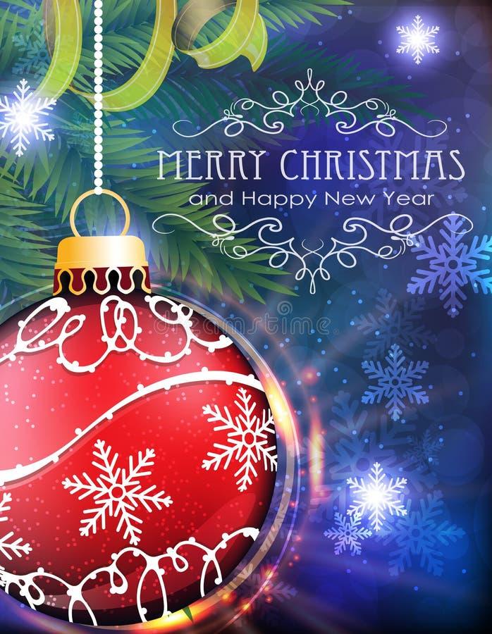 Roter Weihnachtsball mit Tannenzweigen und Lametta lizenzfreie abbildung