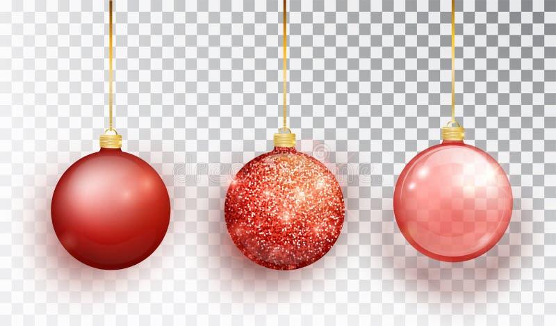Roter Weihnachtsbaum-Spielzeugsatz lokalisiert auf einem transparenten Hintergrund Strumpf-Weihnachtsdekorationen Vektorgegenstan lizenzfreie abbildung
