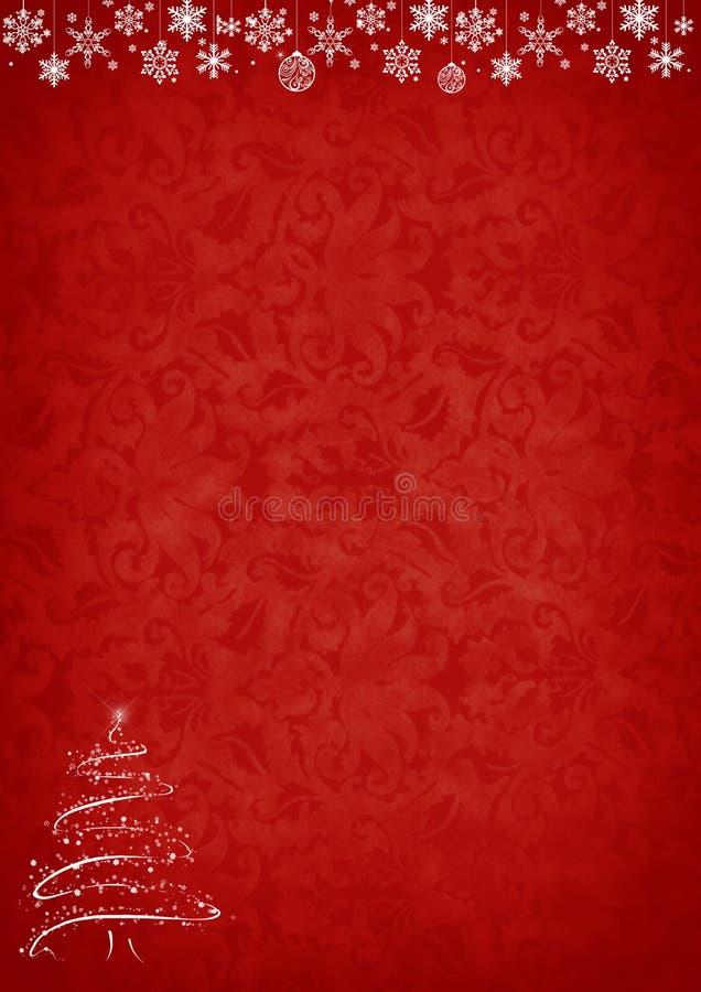Roter Weihnachtshintergrund mit Baum und Dekorationen stock abbildung