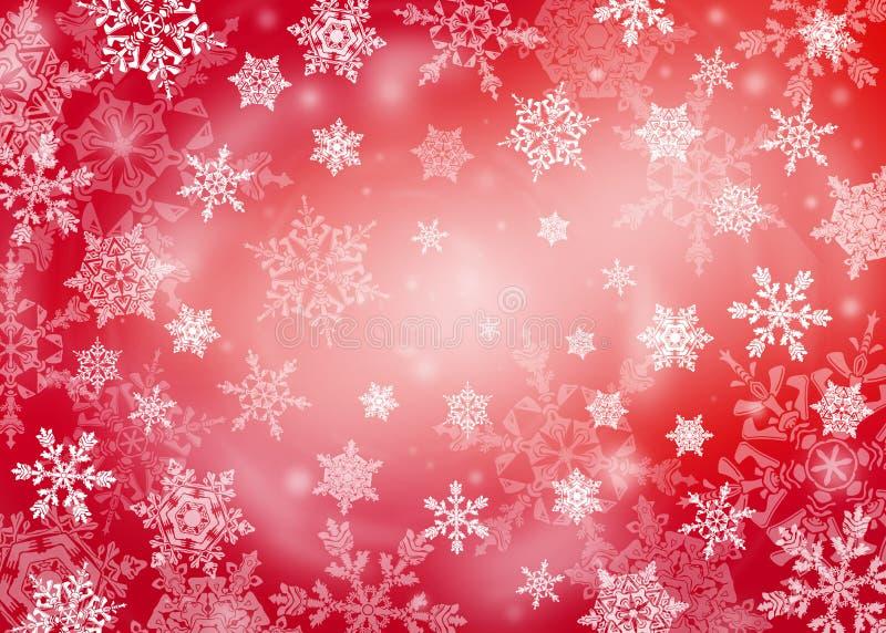 Roter Weihnachtshintergrund mit Schneeflocken stockbilder