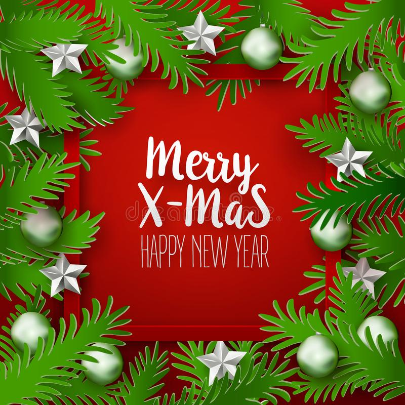 Roter Weihnachtsrahmen mit grünen Niederlassungen lizenzfreie abbildung
