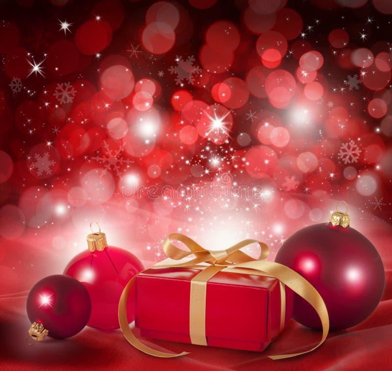 Roter Weihnachtsszenen-Hintergrund lizenzfreie stockfotografie
