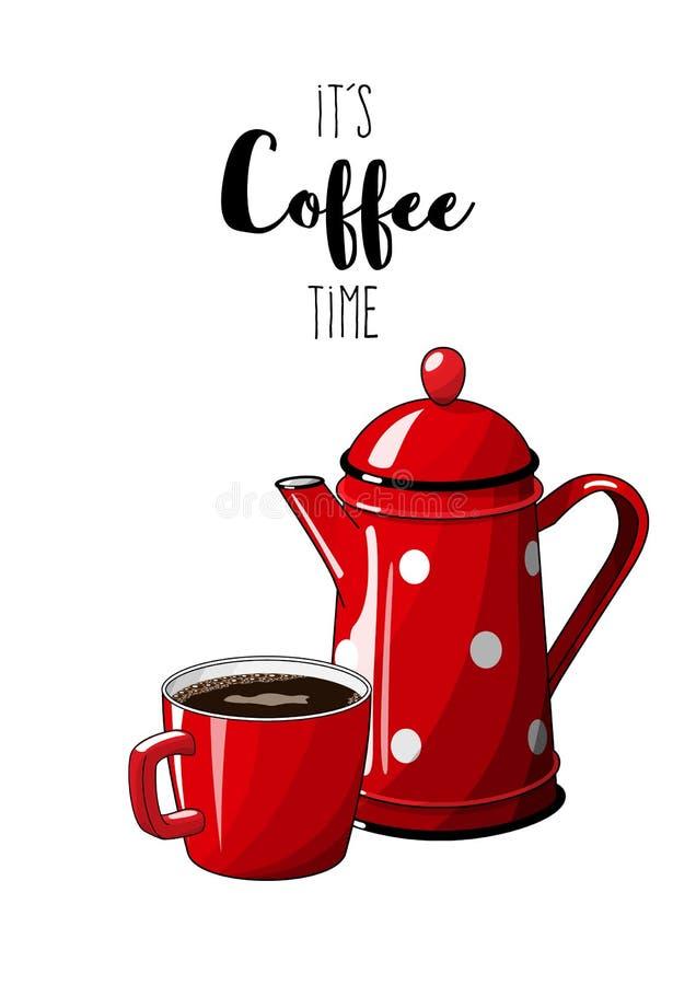 Roter Weinlesekaffeetopf mit Schale auf weißem Hintergrund, mit Text es ` s Kaffeezeit, Illustration im Landhausstil lizenzfreie abbildung