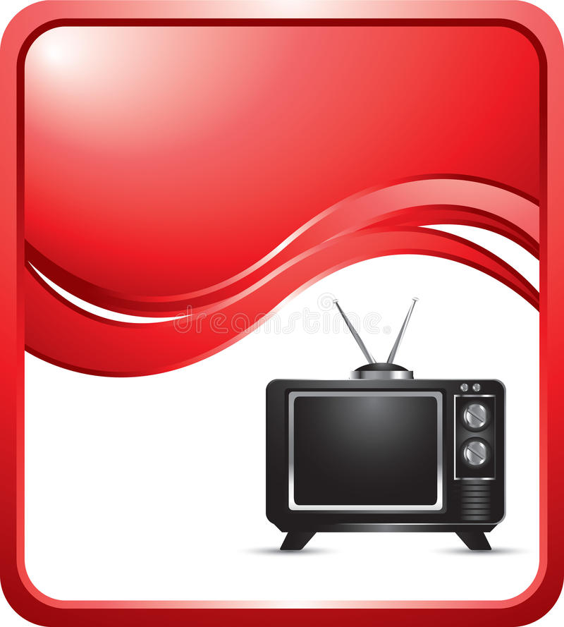 Roter Wellenhintergrund mit altmodischem Fernsehen lizenzfreie abbildung