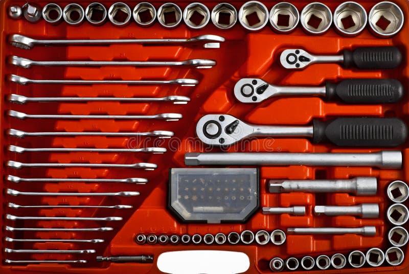 Roter Werkzeugkasten stockfotos