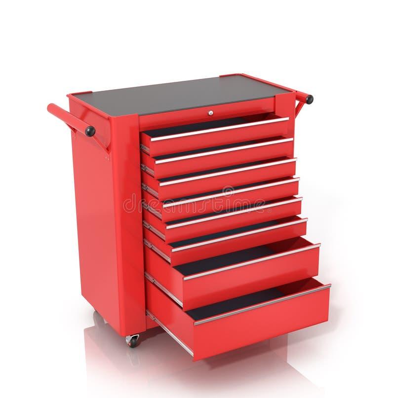 Roter Werkzeugkasten auf Rädern mit offenen Fächern stockfoto