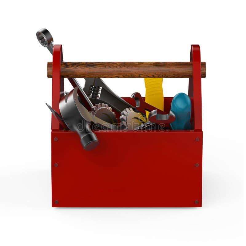 Roter Werkzeugkasten mit Hilfsmitteln Sckrewdriver, Hammer, Handsaw und Schlüssel Im Bau Wartung, Verlegenheit, Reparatur, erstkl stock abbildung