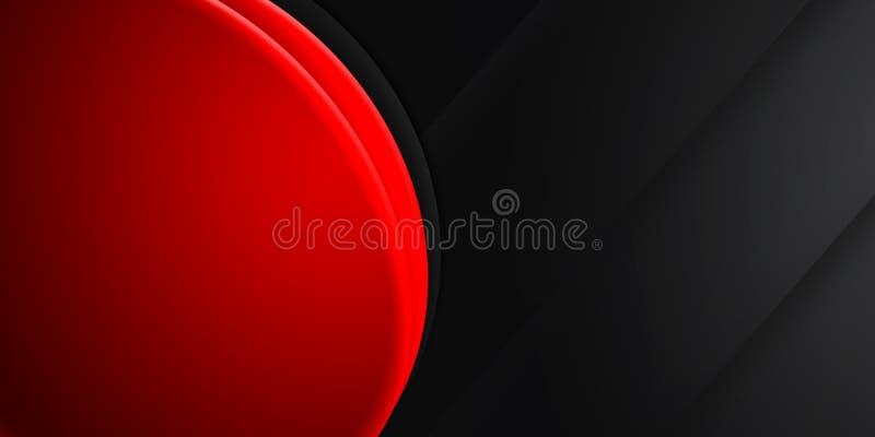 Roter Zyklus auf der schwarzen abstrakten Hintergrundillustrierung, Leerzeichen kopieren lizenzfreie stockfotografie