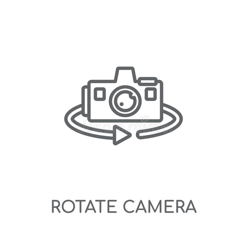 Rotera den linjära symbolen för kameran Den moderna översikten roterar kameralogo lurar vektor illustrationer