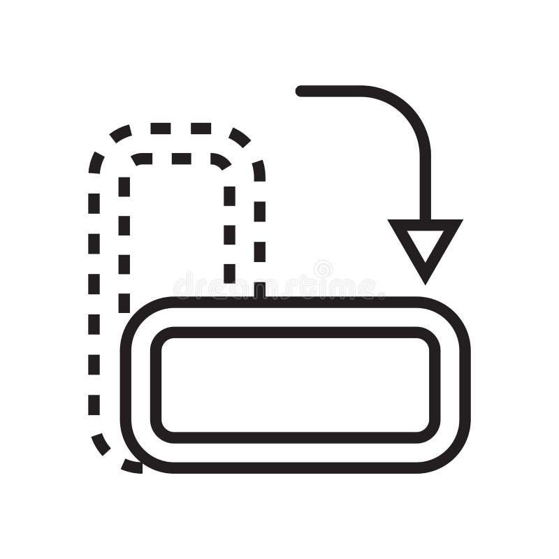Rotera symbolsvektortecknet, och symbolet som isoleras på vit bakgrund, roterar logobegrepp stock illustrationer