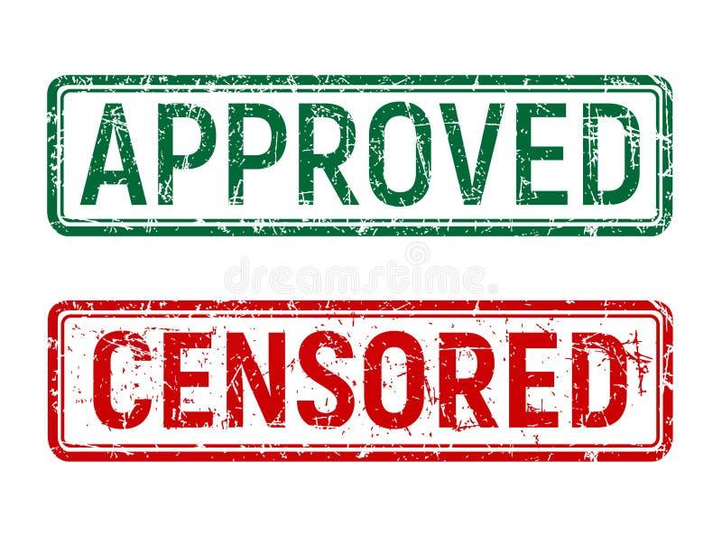 Roterade den godkända och censurerade stämpeln för grön och röd tappning med grungeeffekt på isolerad bakgrund royaltyfri illustrationer