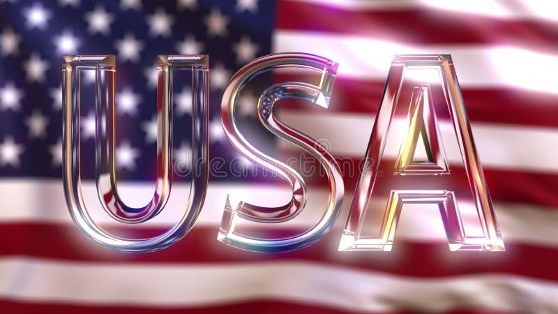 Roterande glass USA överskrift mot den vinkande amerikanska flaggan framförande 3d royaltyfri foto