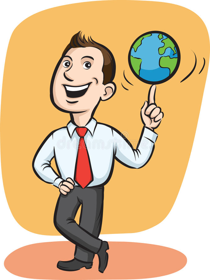 Roterande jordklot för affärsman på fingret royaltyfri illustrationer