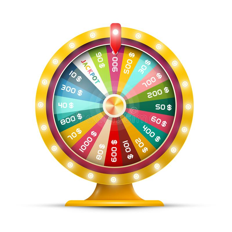 Roterande pengarhjul av förmögenhet med jackpott vektor illustrationer