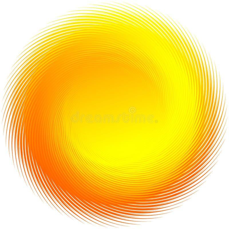 Roterande radiell apelsin, gul form som isoleras på vit royaltyfri illustrationer