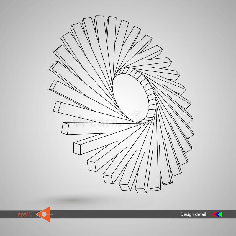 Roterend 3D element voor ontwerp abstracte vorm vector illustratie