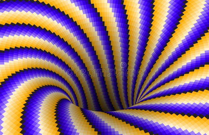 Roterend spiraal gevormd gat van gele blauwe strepen Vectoroptische illusieachtergrond royalty-vrije illustratie
