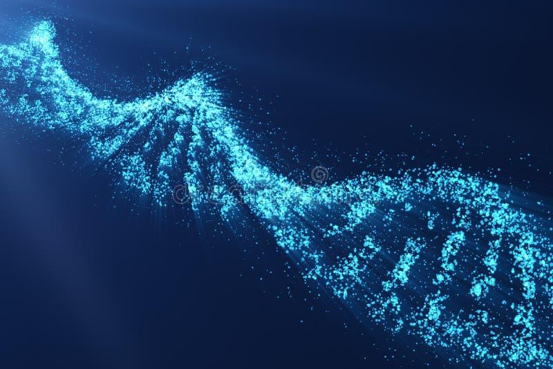 Roterende DNA, Genetische biologie wetenschappelijk concept, blauwe tint, het 3d teruggeven stock illustratie