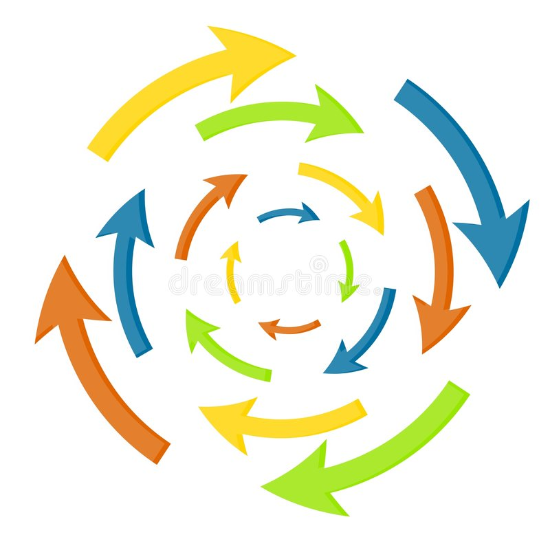 Roterende Pijlen met de wijzers van de klok mee stock illustratie