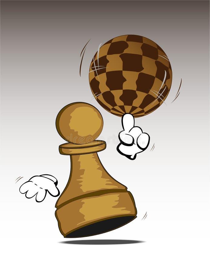 Roterende schaakwereld stock illustratie