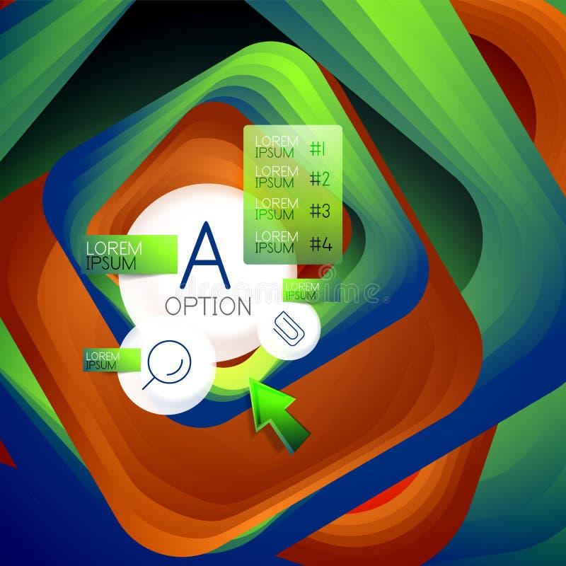 Roterende wervelings vierkante achtergrond, kleurenrechthoeken met stappend het mengen effect met steekproefinfographics of sloga vector illustratie